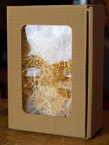 Wellpappe Geschenkbox klein mit Fenster