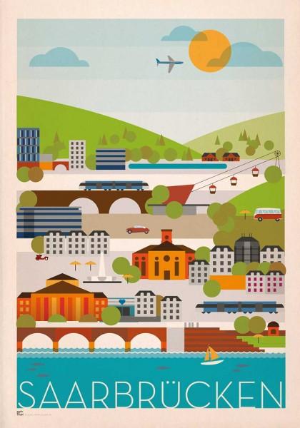 Saarbrücken Skyline Poster Druck DIN A2