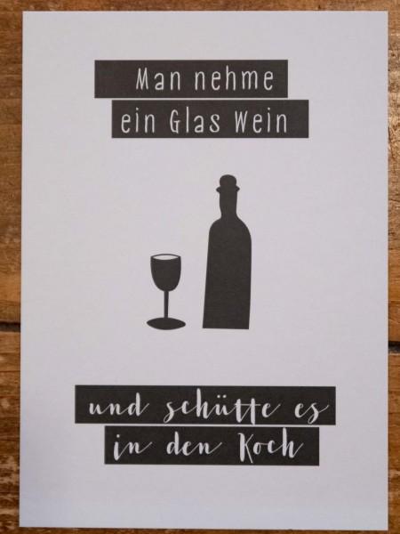Wein in den Koch Postkarte