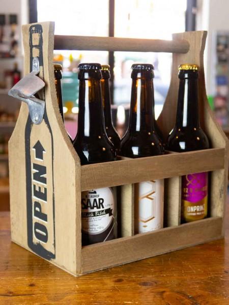 6er Holz Flaschenträger mit Öffner
