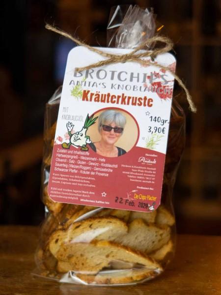 Ciabatta Brotchips Kräuterkruste mit Knoblauchöl
