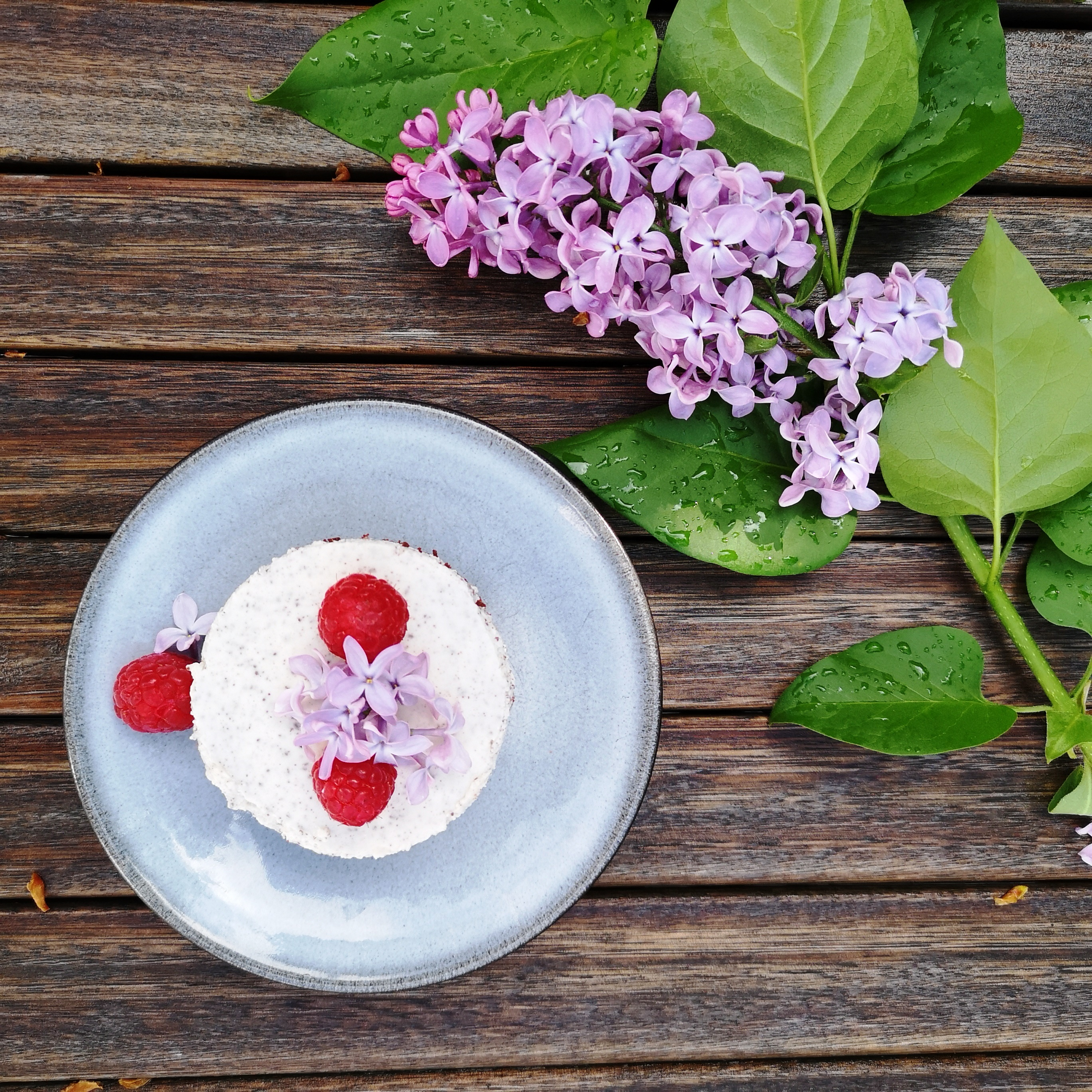 No-bake Himbeer Stracciatella Cheesecake